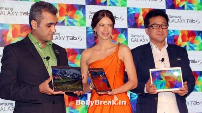 Kalki Launched Samsung Galaxy Tab S,  Kalki Koechlin Pics in Orange Dress, Launches Samsung Galaxy Tab S