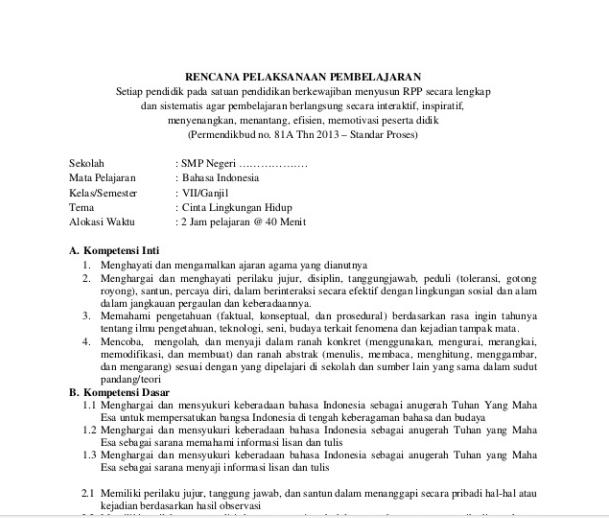 Rpp Bahasa Indonesia Smp Mts Kelas 9 Kurikulum 2013