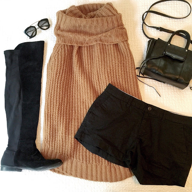 over the knee boots with shorts and sleeveless sweater