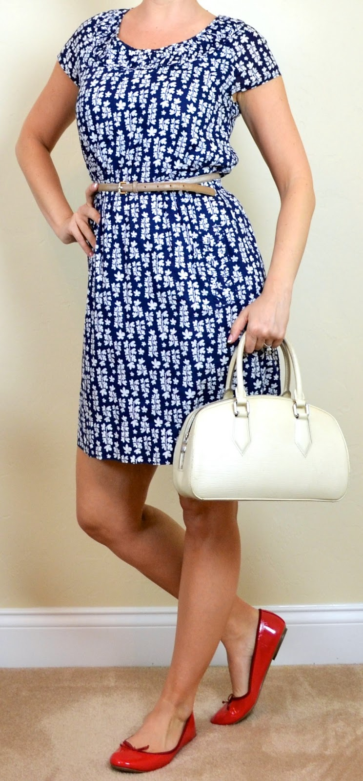 Outfit Post Blue Floral Dress Red Flats