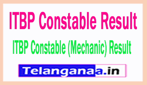 ITBP Constable Result 2018 Check ITBP Constable (Mechanic) Result 2018 Merit list