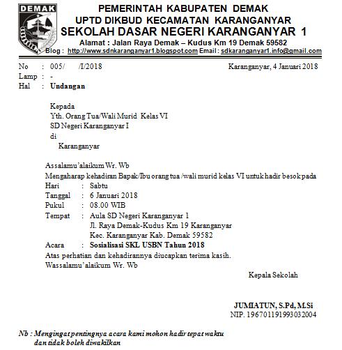Download Contoh Surat Undangan Sosialisasi Skl Usbn Tahun 2018
