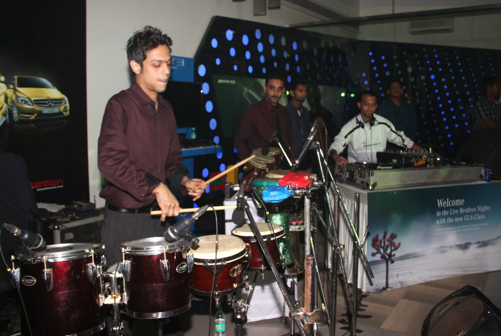 Percussionist Tarang at the Mercedes-Benz GLA-Class Preview at Shaman Wheels, Kalina