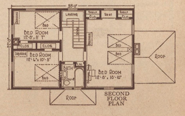 Second floor layout of the Sears Rembrandt, 1925 Sears Modern Homes catalog