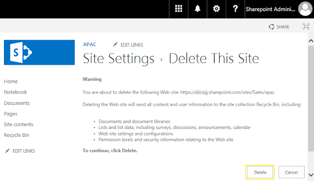 delete a subsite sharepoint online