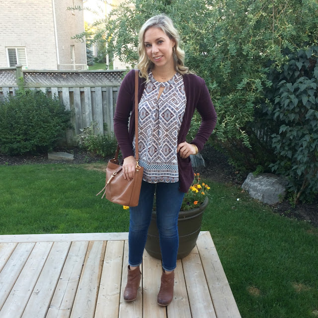 burgundy cardigan and stella and dot sunday bag