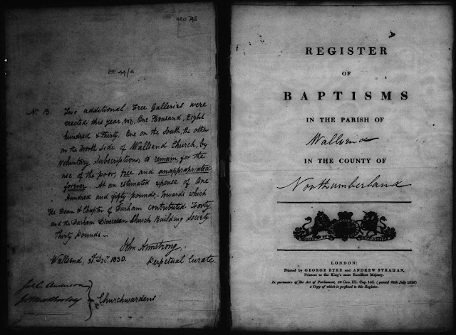 Register of Baptisms, 1813-1854 of St. Peter's Church, Wallsend, Northumberland, England