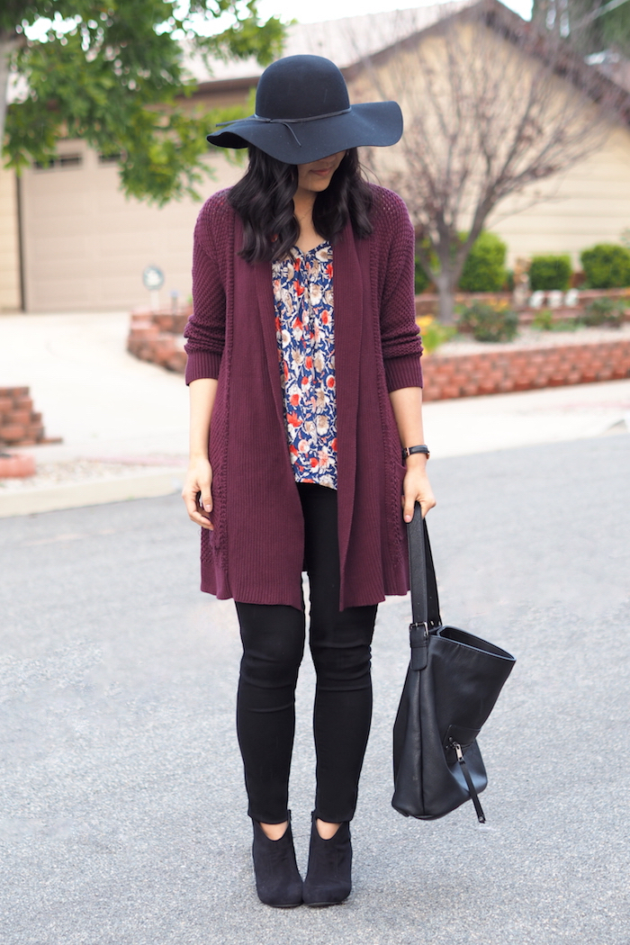 Maroon Cardigan Outfit