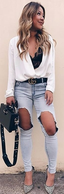 distressed jeans + black lace lingerie / business casual style