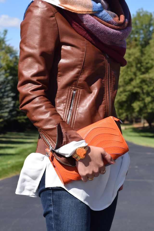 A Day In The Lalz; Fall Style; Blanket Scarf; Leather Jacket; Cognac; Prada Sunglasses; Fashion Blog; Modesty; Hijabi Fashion; Orange Clutch