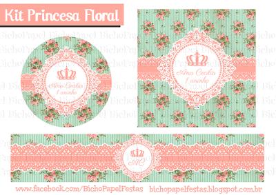 Kit Festa Princesa Floral coroa