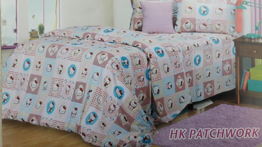 sprei Hello Kitty Patchwork bahan cotton saga