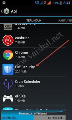 Cara mudah Bypass Kunci Aplikasi CM Security