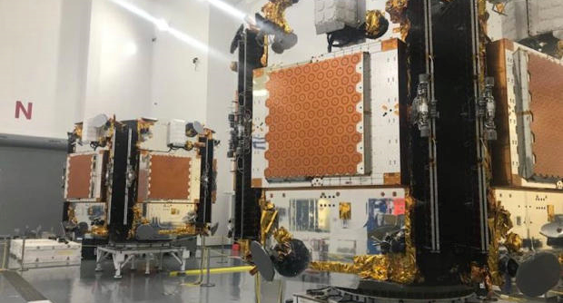 Iridium NEXT satellites being prepared for launch in a clean room at Vandenberg Air Force Base, Calif. Consisting of 32 hosted sensors on the Iridium NEXT constellation, REACH is a partnership between the U.S. Air Force, The Aerospace Corporation, Johns Hopkins Applied Physics Laboratory (APL), Iridium Communications and Harris Corporation.(Photo courtesy of Iridium)