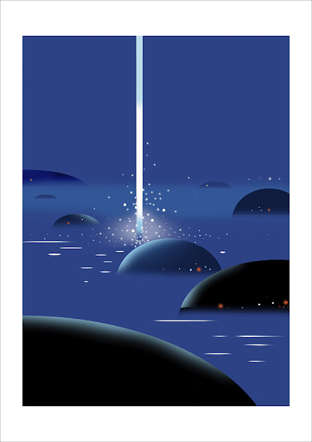 宇宙、空、春の海、夜の海、抽象、風景画、光、神秘、インテリアアート、イラストレーション、額縁