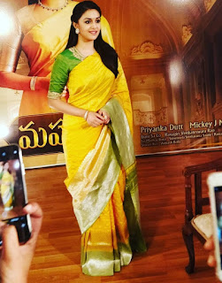 Keerthy Suresh in Yellow Saree at Mahanati Promotions