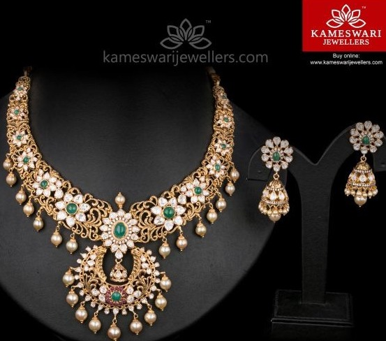Floral Necklace by Kameswari Jewellers