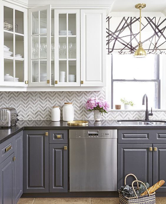 The Pursuit Of Glitter Gold Home Decor Two Toned Kitchen Cabinets