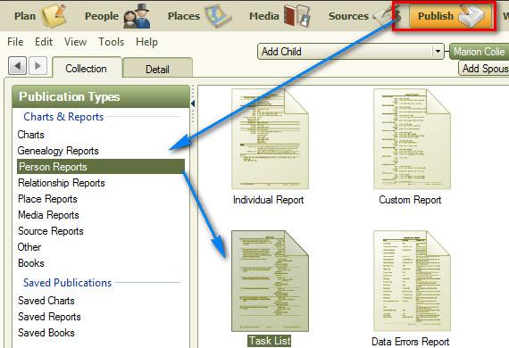 family tree maker user to do task list