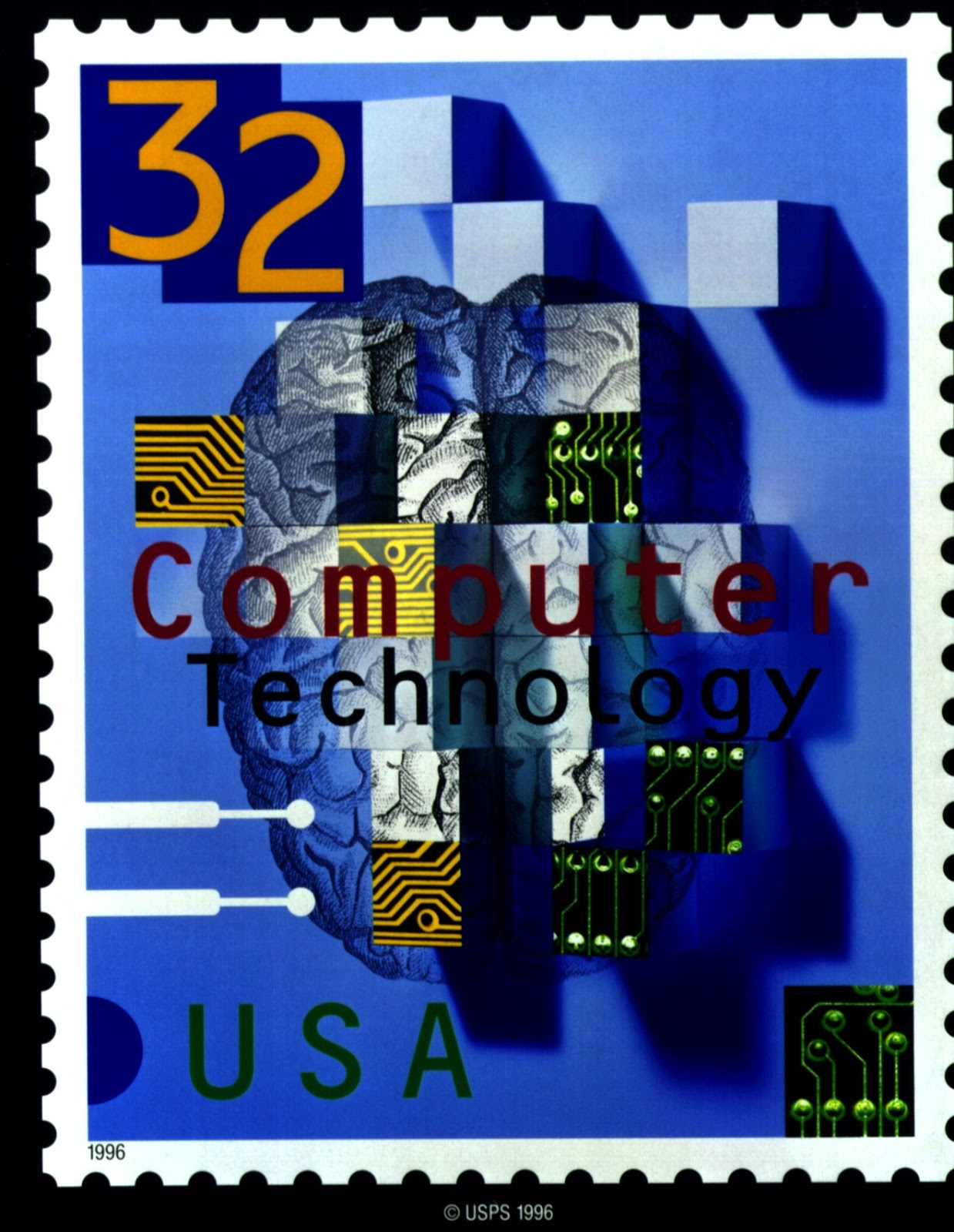1996 the u s postal service issued a special computer technology stamp to mark the 50th anniversary of the eniac in a ceremony at the army s aberdeen