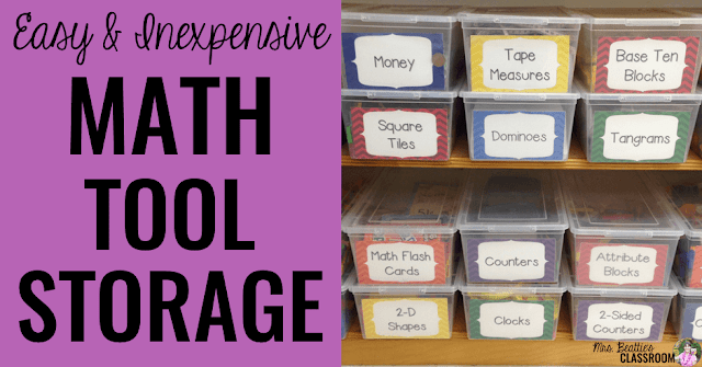 Is math manipulative storage an issue for you? Take a look at my organization ideas that are manageable for students, and look great in your classroom! This storage solution is perfect for a teacher's budget - easy and inexpensive!