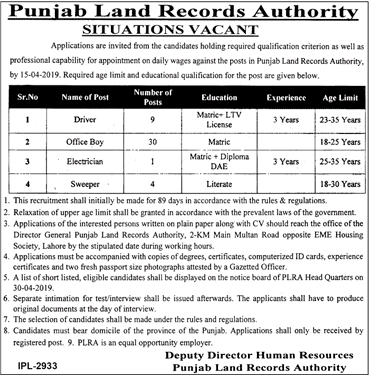Punjab Land Record Authority Jobs 2019 April
