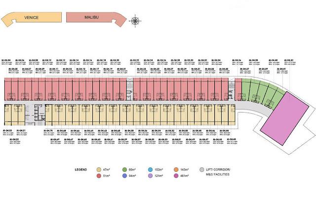 Mặt bằng tầng 4 dự án căn hộ Malibu Hội An