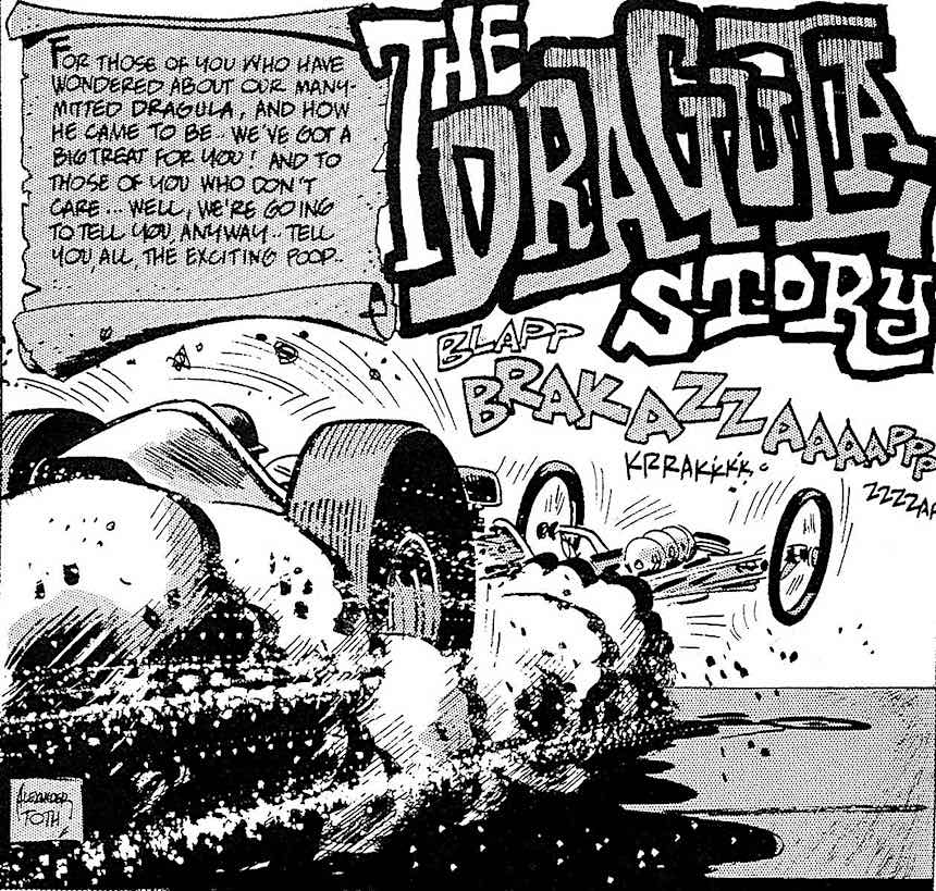 Alex Toth for Hot Rod Cartoons, a dragster
