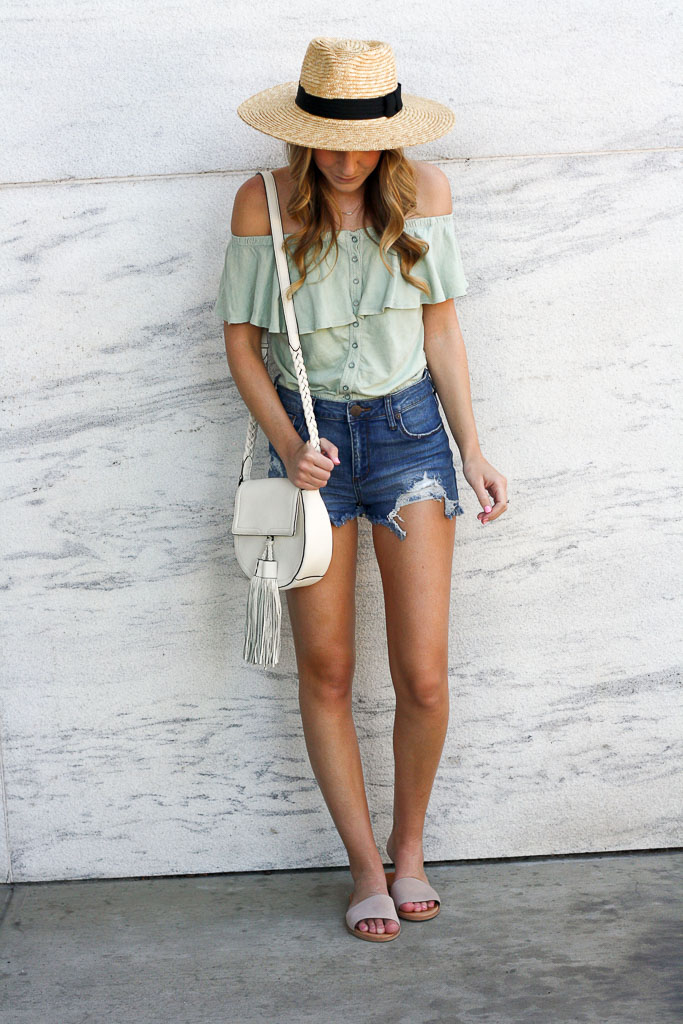 Easy Summer Style - a cropped off the shoulder top + denim cutoffs