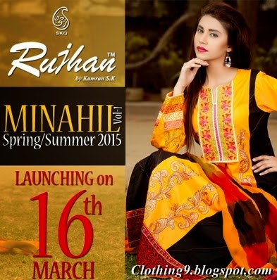 46c29a06e9 Rujhan Fabric presents it's another beautiful and embroidered spring summer  collection 2015 volume-1. Manahil / Minahil Lawn is launching on 16th march  ...