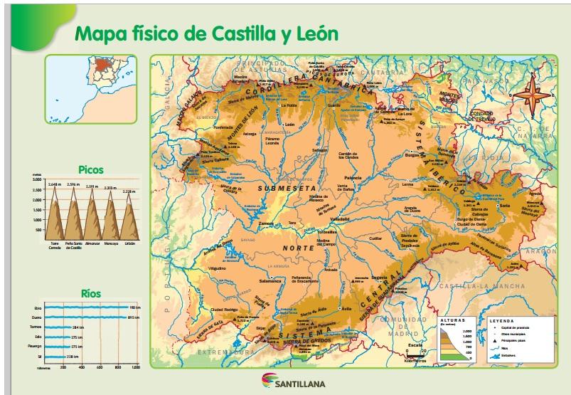 Clase De 1º De Primaria Mapa Fisico De Castilla Y Leon