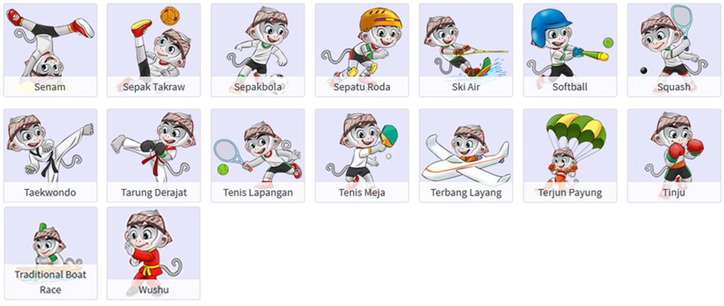 Maskot Semua Cabang Olahraga PON XIX 2016 Jawa Barat