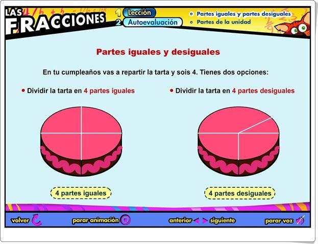"""""""Partes iguales y desiguales"""" (Fracciones de Educación Primaria)"""