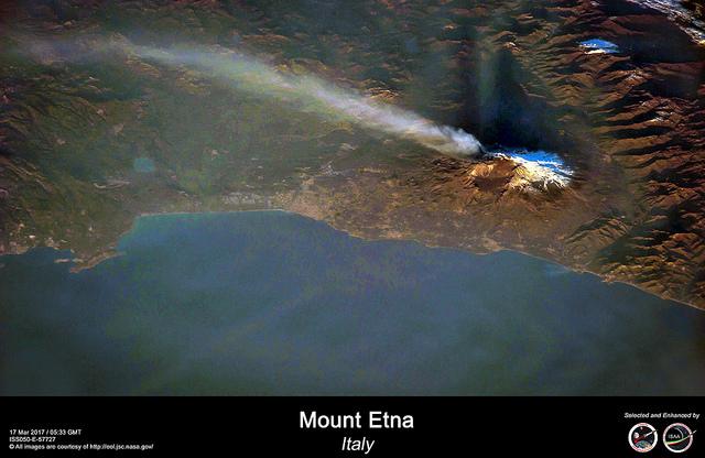 Vulcão Etna em erupção na Itália. Imagem feita por astronautas a bordo da ISS