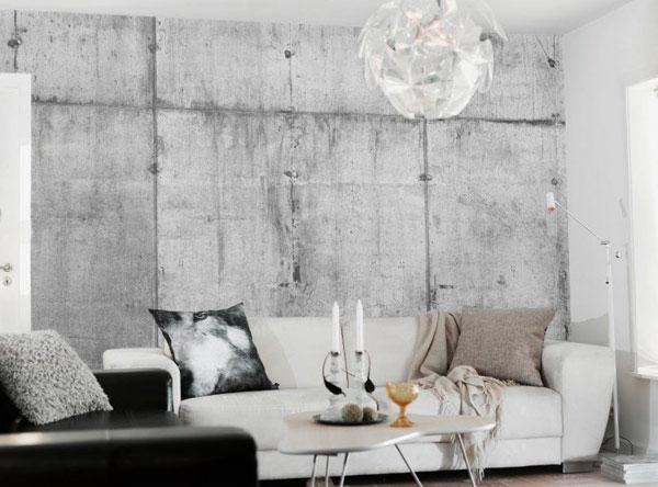 Concrete wall mural livingroom