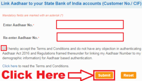 how to link aadhaar card with sbi account online