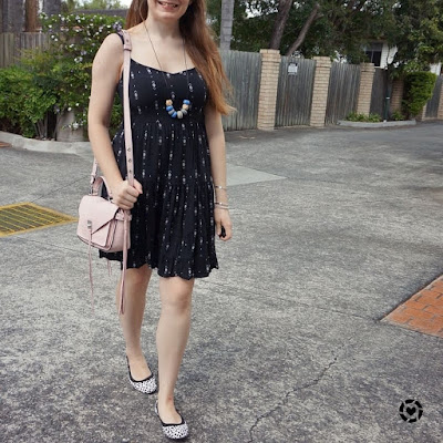 awayfromblue instagram kmart tiered strappy sundress with leopard print flats pastel pink bag