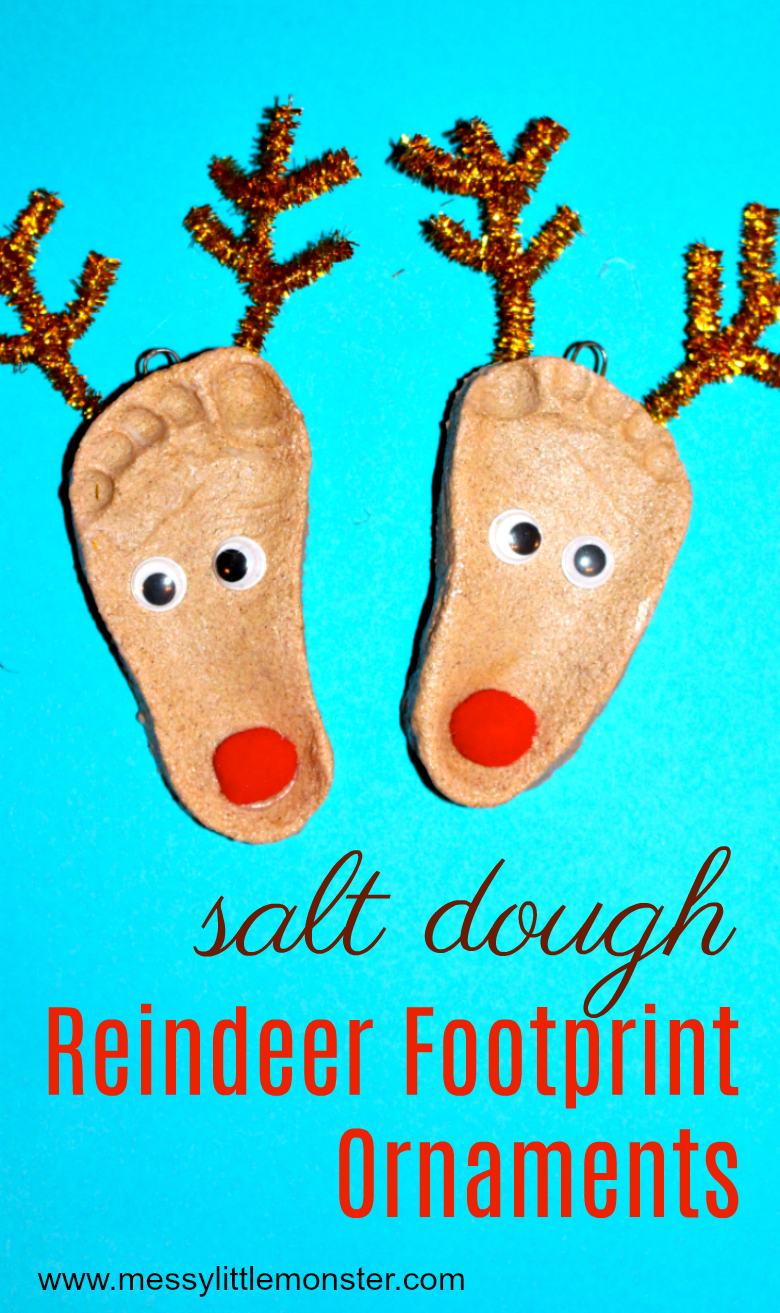 Salt dough ornaments. Reindeer footprint craft for kids.