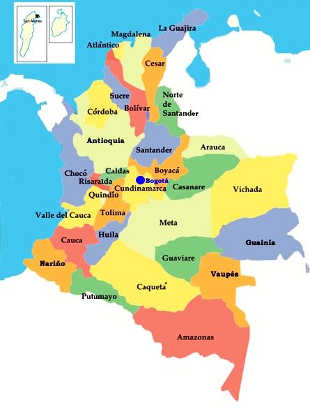 MAPA DE COLOMBIA (DIVISIÓN POLÍTICA DE COLOMBIA)