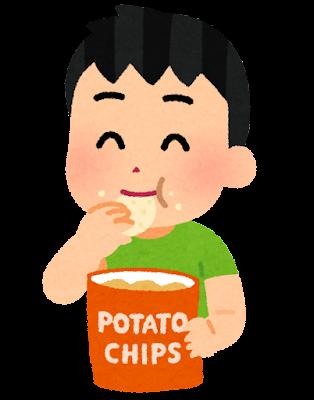 ポテトチップを食べる人のイラスト(男の子)