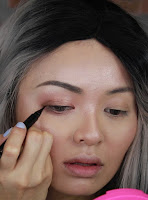 Use Kate Digital Memory Liner #black draw a super thin eyeliner closest to lash line, and wing out a little