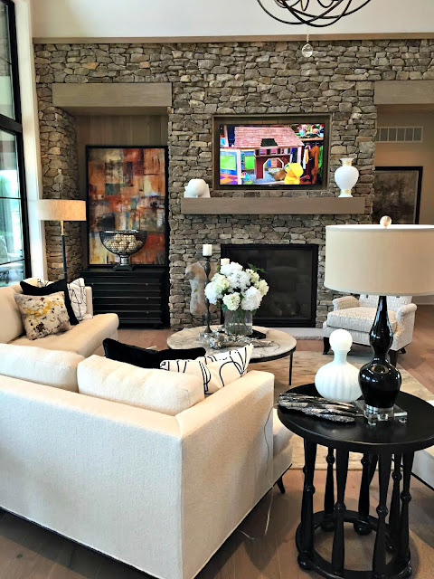 stone wall around fireplace