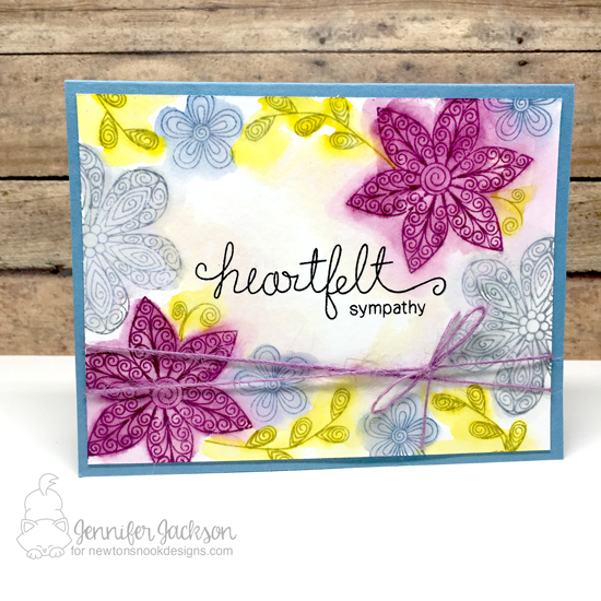 Heartfelt Sympathy Floral card by Jennifer Jackson | Beautiful Blossoms Stamp set by Newton's Nook Designs #newtonsnook