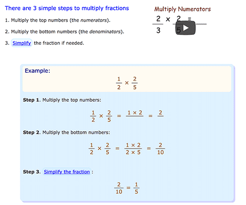 How to multiply fractions in Mathsisfun