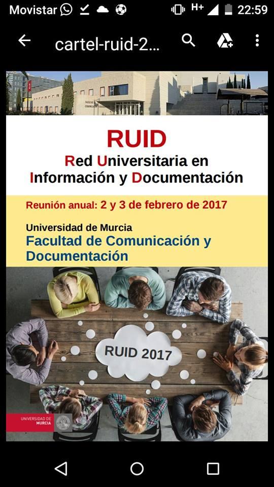 Hoy comienza la reunión de RUID, la Red Universitaria en información y Documentación.
