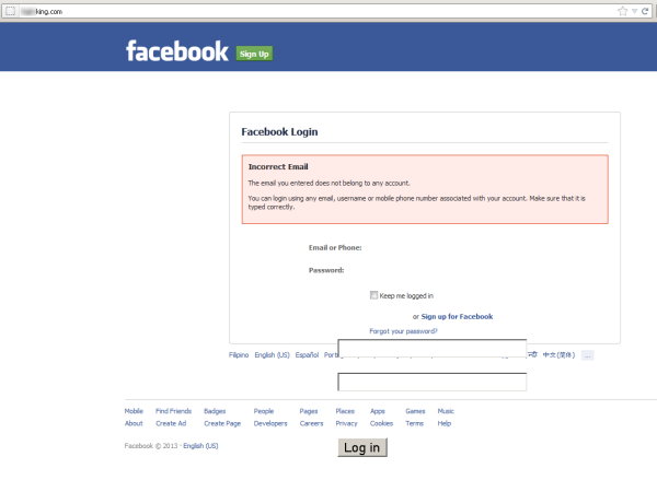 Fake Facebook login Web page