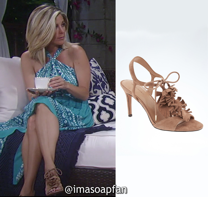 Carly Corinthos, Laura Wright, Brown Suede Fringed T-Strap High Heel Sandal, Banana Republic, General Hospital, GH