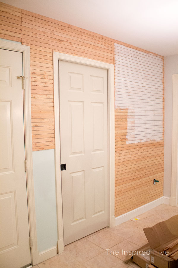 step ceiling paint ideas - DIY Skinnylap Feature wall The Inspired Hive