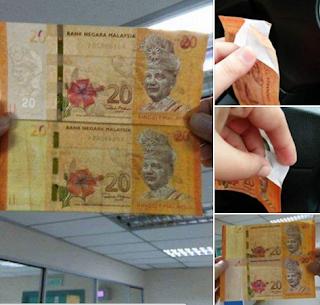 Duit Kertas RM20 Fake