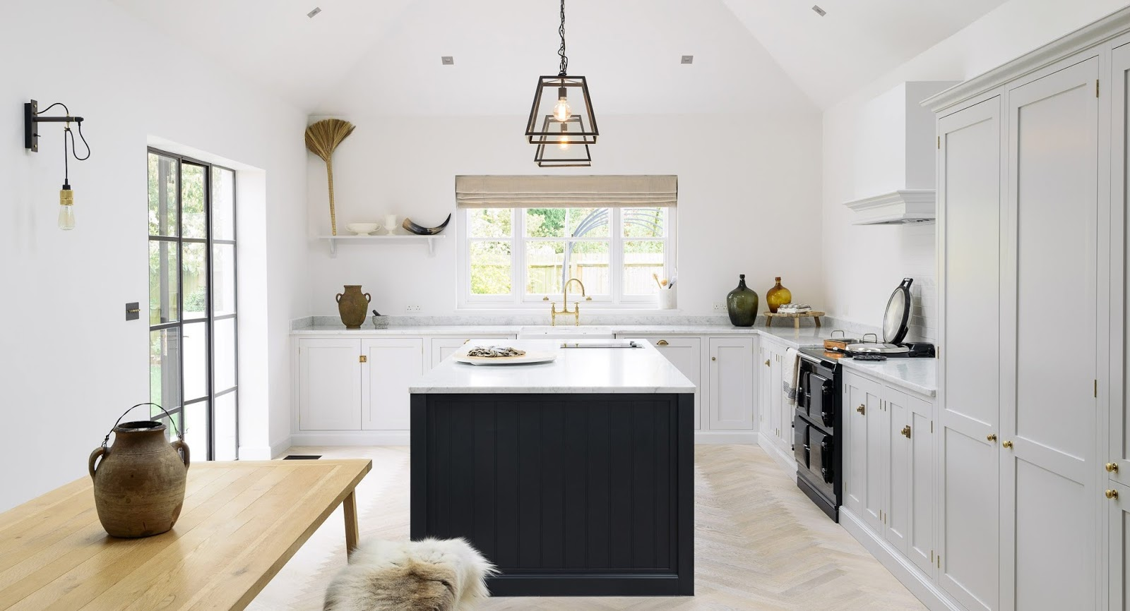 lofty modern farmhouse kitchen with shaker cabinets skylights decor inspiration - Modern Farmhouse Kitchen